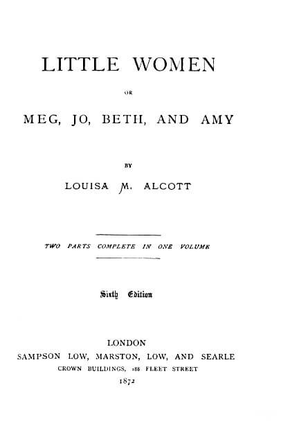 Louisa May Alcott - Piccole Donne louisa may alcott Louisa May Alcott – Piccole Donne Little Women title page 1872