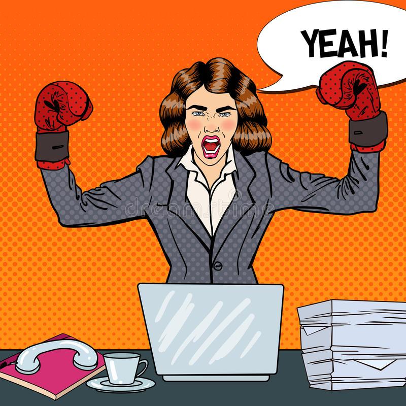 lavoro Ma tu che lavoro fai? schiocco art business woman guantoni da pugile sul multi lavoro d ufficio di incarico 78504796