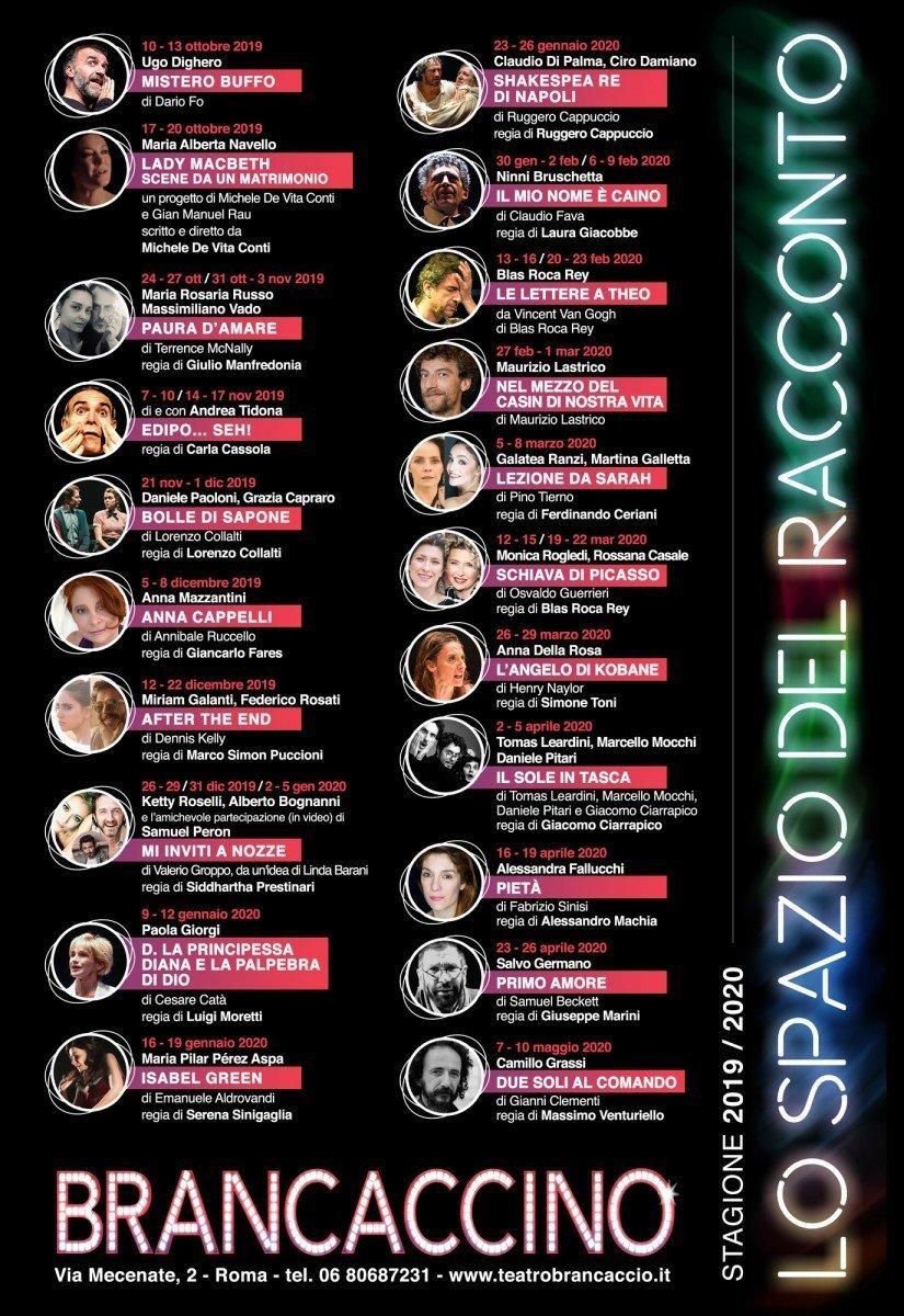 Il Brancaccino presenta la Stagione 2019-2020 - Sara Colangeli brancaccino Il Brancaccino presenta la Stagione 2019-2020 lo spazio del racconto 33x48 Copia