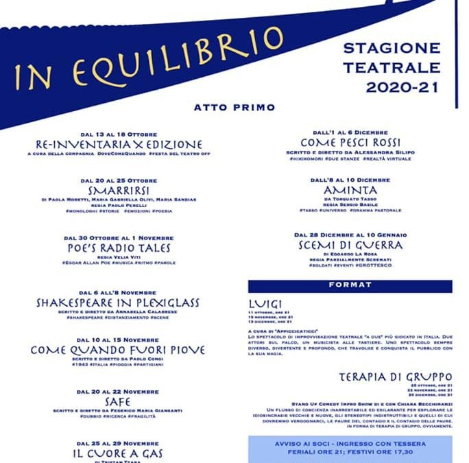 La nuova stagione del teatro Trastevere è IN EQUILIBRIO